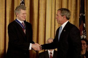 Van Cliburn receiving the Presidntial Medal of Freedom, the President receiving a Million Dollar Handshake